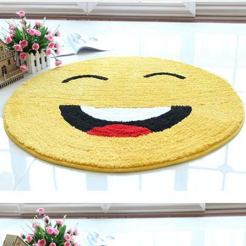Cartoon Emoticons Smile Face Round Carpet /area rug (non-slip 80 x 80 CM )