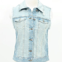 Distressed frayed denim jean vest