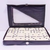 Vintage Double Six Dominoes Travel Size Case Retro Games Family Fun Game Night