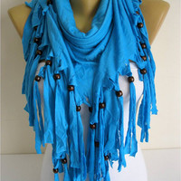 Blue Scarf-Cotton Scarf Shawls-Scarves-gift Ideas For Her Women's Scarves-christmas gift- for her -Fashion accessories