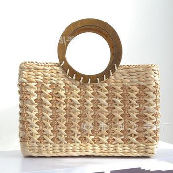 40X23CM  Japanese brand straw bag lady handbags corn husk the original handbags circular  wooden handle A2321