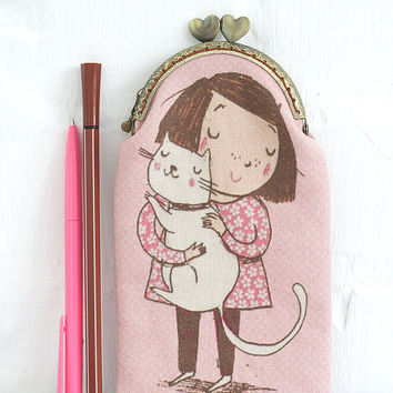 Girl with Cat Pink Journal with pouch Pink Notebook Girlie Diary Personalized Gift idea Cute for girl for Her Pink Sketchbook Fabric cover