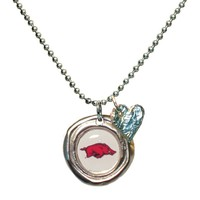 U of Arkansas- Necklace with Small Heart Charm
