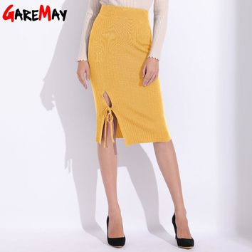Women Skirts Pencil Elegant Midi Skirt Women's Slim Ladies Clothing For Women Split Package Knitted Skirt Female Clothes