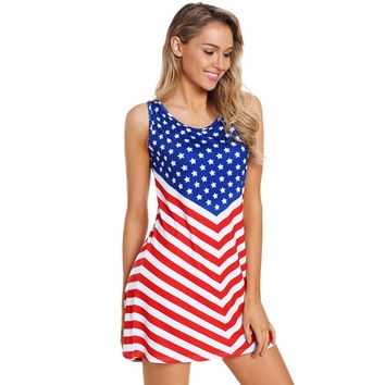 New American flag round neck sleeveless high waist large size A word dress
