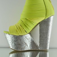 Privileged Maneater Cut Out Platform Wedge Bootie Shoe Silver Yellow