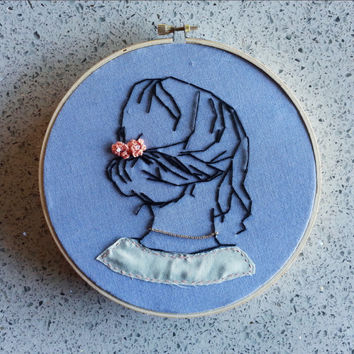 Embroidery Piece / Girl's Hair / Finished Embroidery Design