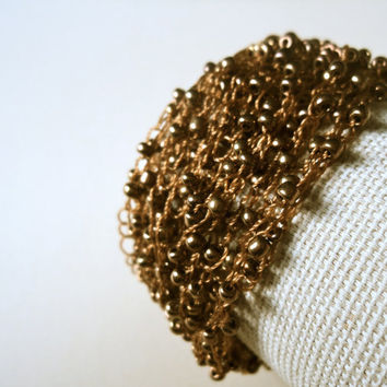 Knitted Bead Bracelet Brown/Bronze by Lunarpearl on Etsy