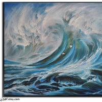 Original Landscape Oil Painting, Large Landscape Art, Seascape Painting, Seascape Art, Ocean Wave Painting