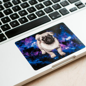Little pug in the galaxy - macbook decal, macbook sticker, macbook pro decal, Apple Macbook Pro, Pro Retina, Macbook Air Touchpad Sticker