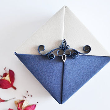 Elegant Jewelry Gift Box,  Small Origami Wedding Gift Box, Navy Blue and Silver