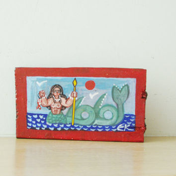 Vintage mermaid painting, Greek folk art mermaid, small painitng on salvaged wood, acrylic on wood, art brute mermaid, Greek folk art