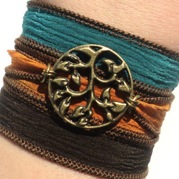 Bohemian Silk Wrap Bracelet Tree of Life Yoga Jewelry Earthy Fall Etsy Gift For Her Mothers Day Unique Gift Under 50 Item Y154