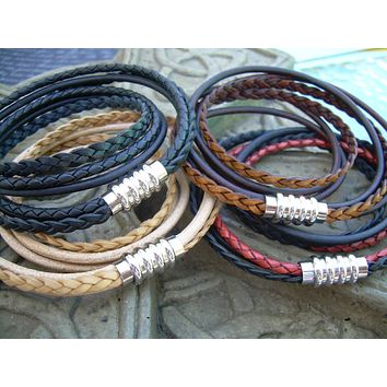 Mens Leather Bracelet Stainless Steel Magnetic Clasp Mens Bracelets Leather Double Wrap Bracelet Fathers Day Gift Mens Jewelry Groomsmen