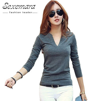 Blusas Femininas  solid 14 colors V-Neck Women Blouses Sexy slim Knitted Clothes Long Sleeve Tops for Women clothing,CT220