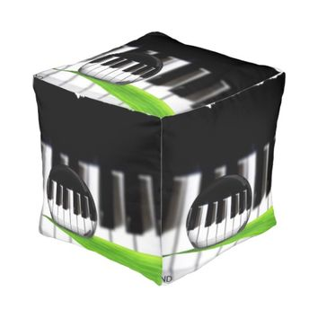 Trendy photo piano cubed pouf with art design cube pouf