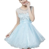 Girl's Sexy Aqua Hand Beaded Crystals Embellished Tulle Prom Homecoming Dress