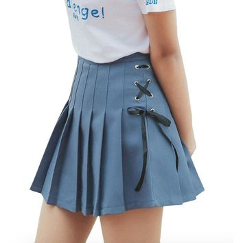 Lace Up School Girl Skirt- Blue