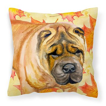 Shar Pei Fall Fabric Decorative Pillow BB9922PW1818