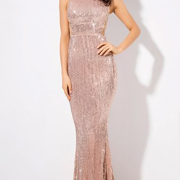 Money Maker Champagne Sequin Sleeveless Mock Neck Cut Out Lace Up Sides Mermaid Maxi Dress