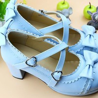 Japanese Lolita Dolly Sweet Bows Double Straps High-Heeled Shoes