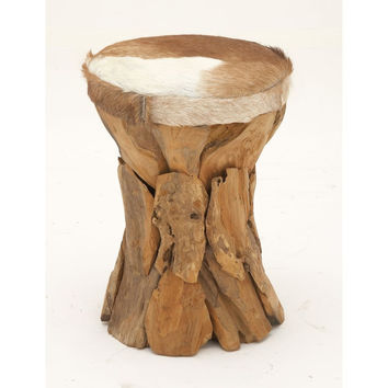 37644 Modern Wood Hide Leather Round Stool