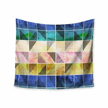 """bruxamagica """"Tartan Blue And Gold"""" Coral Blue Abstract Pattern Digital Vector Wall Tapestry"""