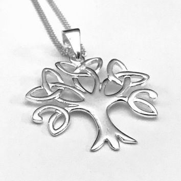 Tree of Life Necklace, Triquetra Necklace, Celtic Necklace, Sterling Silver Pendant, Gift Necklace, Holiday Gift. Wedding Gift