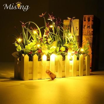 Cork Shaped LED String Light Battery Power Starry Copper Wire Wine Bottle Lamp Bulb Fairy Light Christmas Home Garden Decor