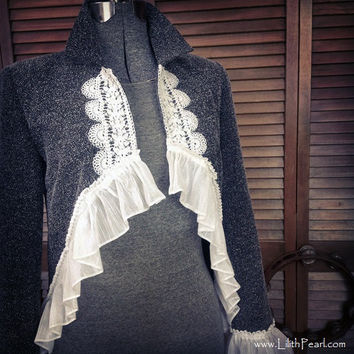 Bohemian Jacket Upcycled with Vintage Crochet, a Sheer Ruffle and a Funky Hemline - Size 6P