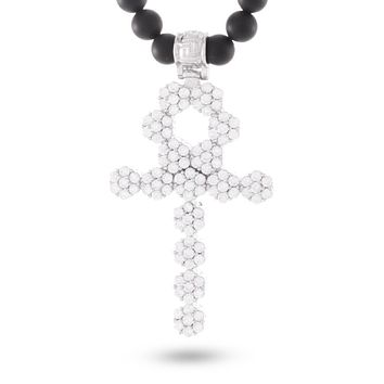 White Gold Onyx Beaded Ankh Cross Necklace