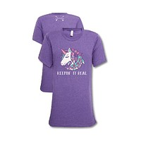 Southern Couture Lightheart Unicorn Triblend Front Print T-Shirt