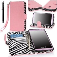 Note 3 Case, Galaxy Note 3 Flip Case - E LV Galaxy Note 3 Case Zebra print interior Deluxe PU Leather Folio Wallet Case Cover for Samsung Galaxy Note 3 N9000 (AT&T, T-Mobile, Sprint, Verizon) - BABY PINK