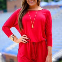 Surprise Me Romper, Red