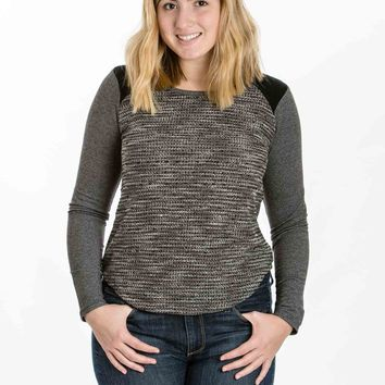Black Combo Knit Top by Olive & Oak