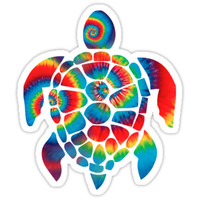 'Tie Dye Turtle' Sticker by ericbracewell
