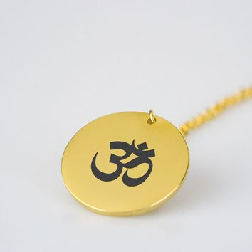 Yoga Om - Shiny Gold Pendant