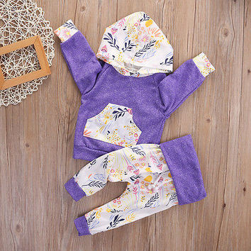 Autumn Winter Children Kids Stuff Floral Baby Girls Long Sleeve T-shirt+Pants Outfits 2PCS Hooded Clothes Set