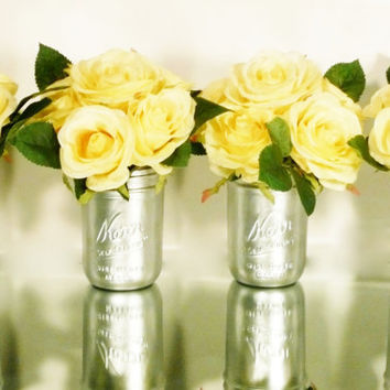 Wedding and Home Decor - Silver Painted Mason Jars - Vases - Bouquet Holders