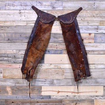 Vintage Leather Cowboy Chaps, Authentic Western Decor, Equestrian Decor