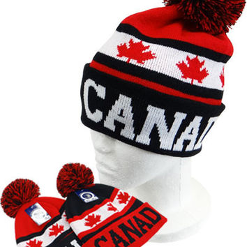 * Canada Stripe Beanie with Ball In Red/Black