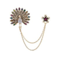 OKAJEWELRY Vintage Gold Peacock Flower Jewel Brooch Collar Pin Link Chain