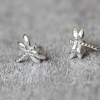Dragonfly Stud Earrings Sterling Silver by Fashnin.com