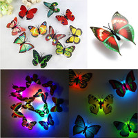 2016 Random Color Lovely Changing Beautiful Cute ABS Butterfly LED Night Light Lamp