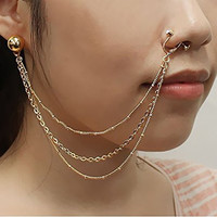 Pierced Ball Stud Earring To Clip On Nose Hoop Ring w/ Triple Strand Chain in Gold-Tone