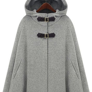 Grey Hooded Buckle Woolen Cape