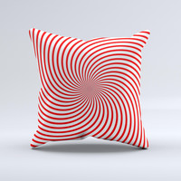Red & White Hypnotic Swirl ink-Fuzed Decorative Throw Pillow