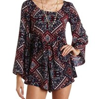 Navy Combo Scarf Print Bell Sleeve Romper by Charlotte Russe
