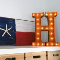 """24"""" Letter H Lighted Vintage Marquee Letters (Rustic)"""