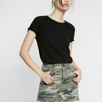Mid Rise Camouflage Twill Mini Skirt